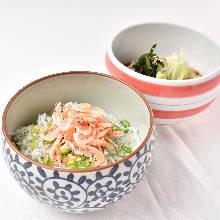 Tempura rice bowl and soba noodles set