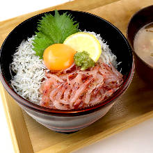 Whitebait and prawn rice bowl