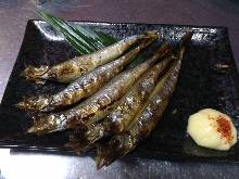 Seared shishamo smelt