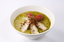 Chinese noodles in cloudy white bone broth