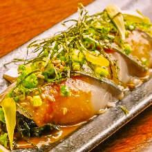 Japanese pickled mackerel sashimi