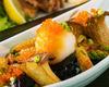 Deep-fried eggplant and king trumpet mushroom served with grated daikon radish and ponzu sauce
