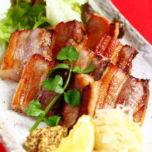 Charcoal grilled bacon