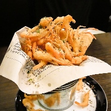 Shrimp deep-fried without batter