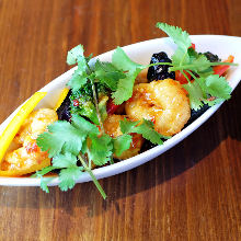 Simmered shrimp and eggplant with chili sauce