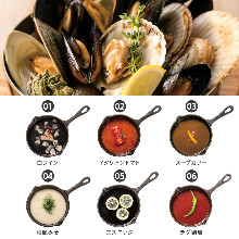 Shellfish of the day, serving all-you-can fill bucket