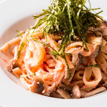 Pasta with spicy mentaiko and mizuna