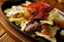 Organ meats teppanyaki