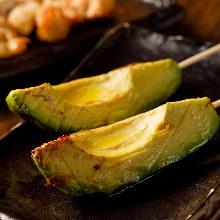 Grilled avocado skewer