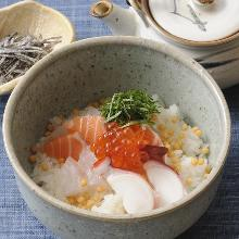 Kaisen chazuke (seafood and rice with tea)
