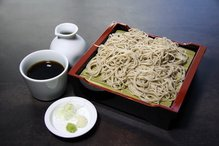 Buckwheat noodles served on a bamboo strainer