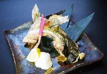 Grilled amberjack collar meat