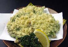 Perilla-wrapped sardine tempura
