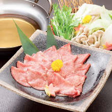 Beef tongue and Japanese leek shabu-shabu