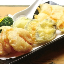 Deep-fried vegetables without breading or batter