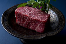 Thickly-sliced red beef
