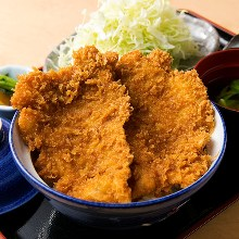 Pork cutlet rice bowl with sweet-and-salty sauce