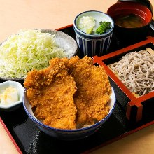 Pork cutlet and sauce rice bowl and soba meal set