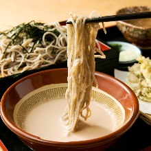 Buckwheat noodles dipped in a broth