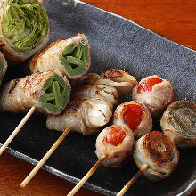 Assorted grilled vegetable roll skewers