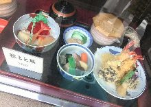 Tempura meal set with sashimi