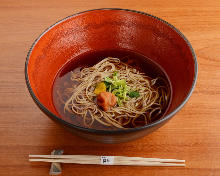 Buckwheat noodle in a hot soup