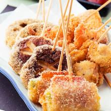 Assorted fried skewers