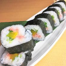 Fatty tuna and pickled radish sushi rolls