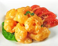 Fried shrimp dressed with mayonnaise