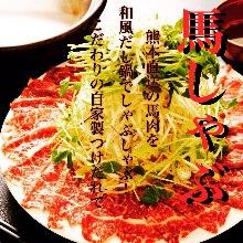 Horse meat hot pot (sukiyaki or shabu-shabu)