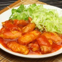 Fried fish stir-fry with chili sauce