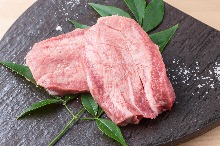 Thickly sliced premium beef tongue