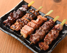 Assorted grilled pork skewers, 5 kinds
