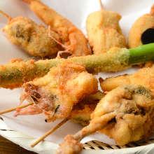 Assorted fried cutlet skewers, 10 kinds