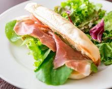 Prosciutto and mozzarella panini