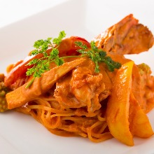 Tomato cream sauce pasta with shrimp