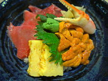 Bluefin tuna and premium sea urchin rice bowl
