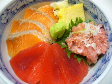 Tuna, salmon, and negitoro (tuna paste with green onion) rice bowl