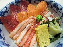 Seafood rice bowl with snow crab