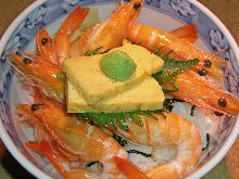 Boiled prawns rice bowl
