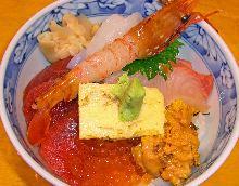 Seasonal seafood rice bowl