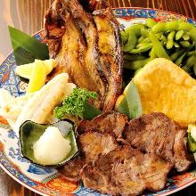 """Assorted """"Robatayaki"""" (char-grilled) of seafood and vegetables"""