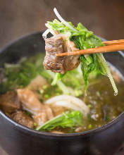 Wheat noodles topped with fried offal
