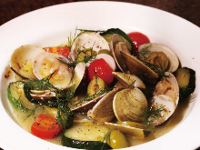 Orient clams steamed in wine