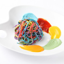 Colorful rainbow pasta painter