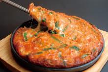 Kimchi and cheese pajeon