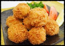 Deep-fried scallops