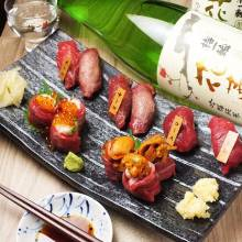 Assorted horse meat nigiri sushi