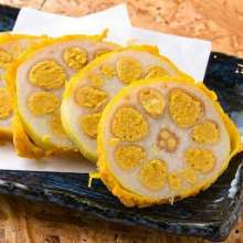 Mustard-stuffed lotus roots