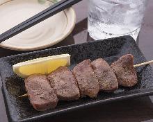 Grilled pork tongue skewer